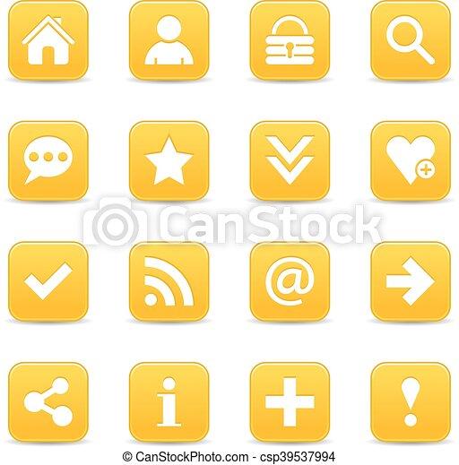 Yellow satin icon web button with white basic sign - csp39537994