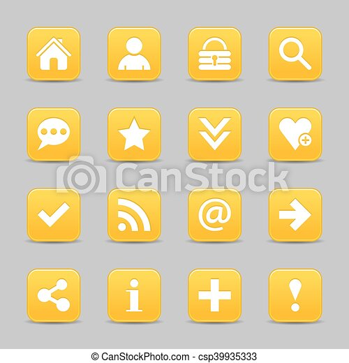 Yellow satin icon web button with white basic sign - csp39935333