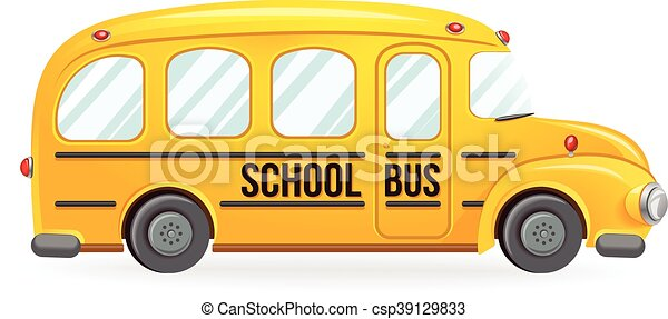 Yellow School Bus School Transport Isolated On White Vector