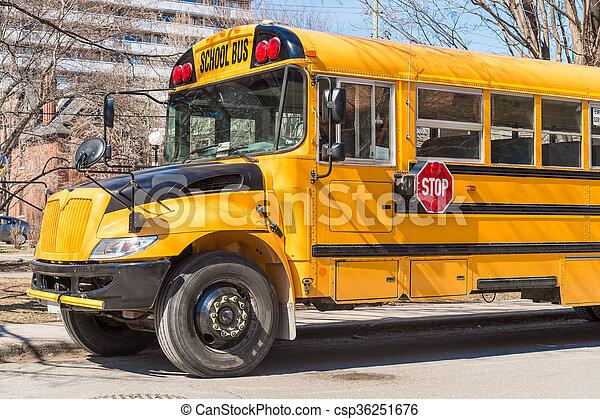 Yellow school bus in America - csp36251676