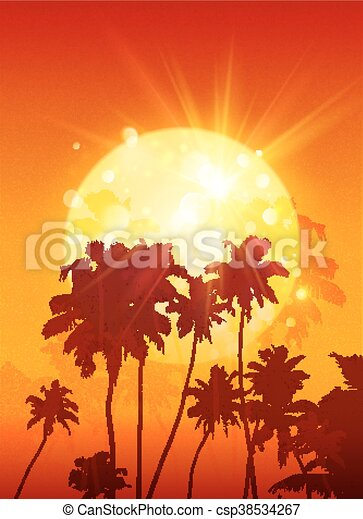 yellow shining moon with black palm trees silhouettes on orange
