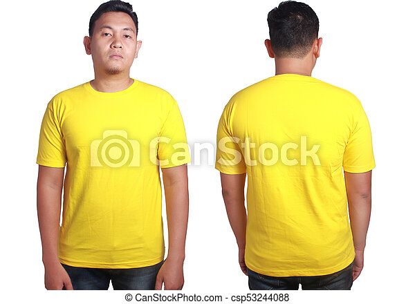 Yellow Shirt Mockup Template Blank Tshirt Mock Up Front And Back