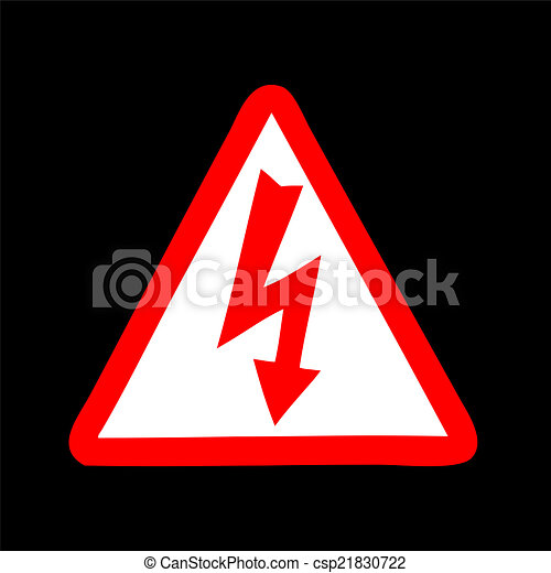 Yellow sign with high voltage icon, vector illustration - csp21830722