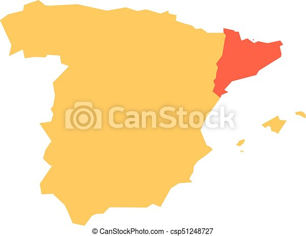 Map Of Spain By Region.Yellow Silhouette Map Of Spain With Red Highlighted Catalonia Region Simple Flat Vector Illustration