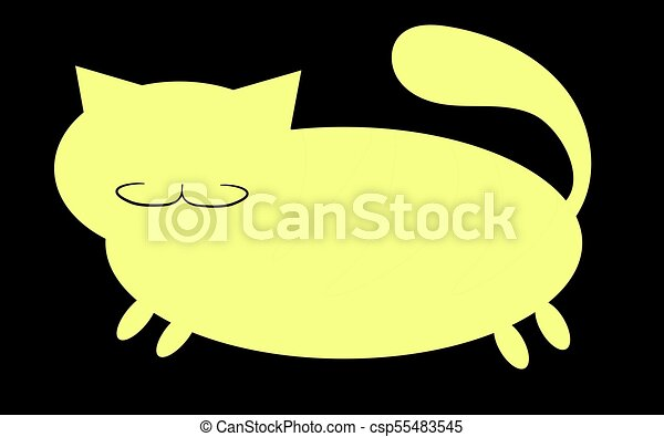 Yellow Silhouette Of A Fat Cat With Mustache Short Paws And Big Snout Ears Sticking Upwards On White Background Icon Vector Illustration