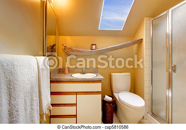Yellow simple bathroom with skylight - csp5810586