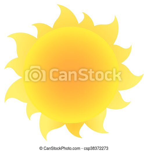 Yellow Simple Sun With Gradient - csp38372273