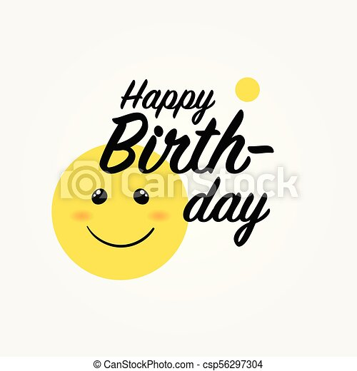 Yellow Smile Emoji Happy Birthday Greeting Card With Yellow Smiling