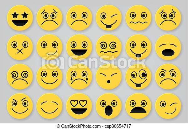 Yellow smiley icon sets - csp30654717