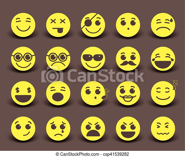 Yellow smileys faces icon and emoticons - csp41539282