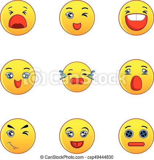 Yellow smileys icons set, flat style - csp49444830