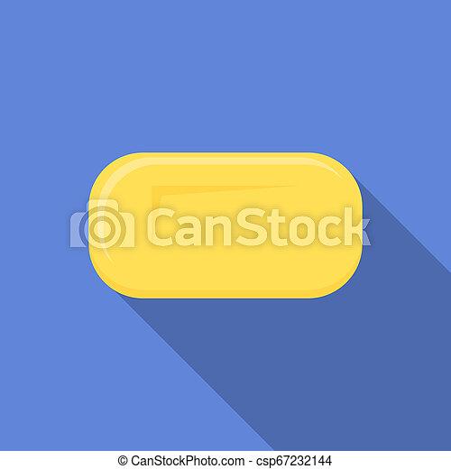 Yellow soap icon, flat style - csp67232144