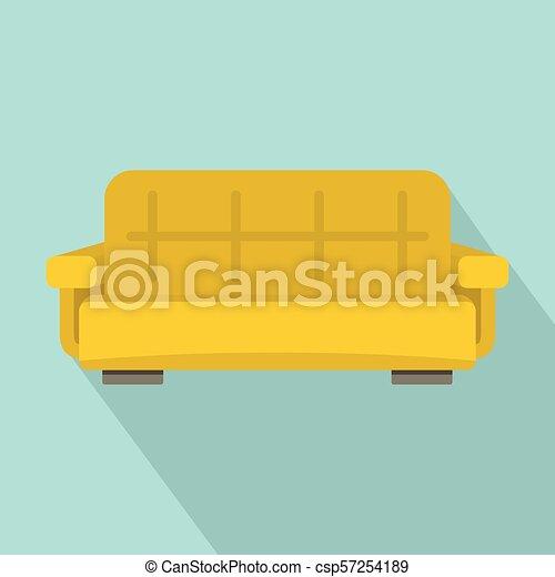 Yellow Sofa Icon Flat Style Yellow Sofa Icon Flat Illustration Of