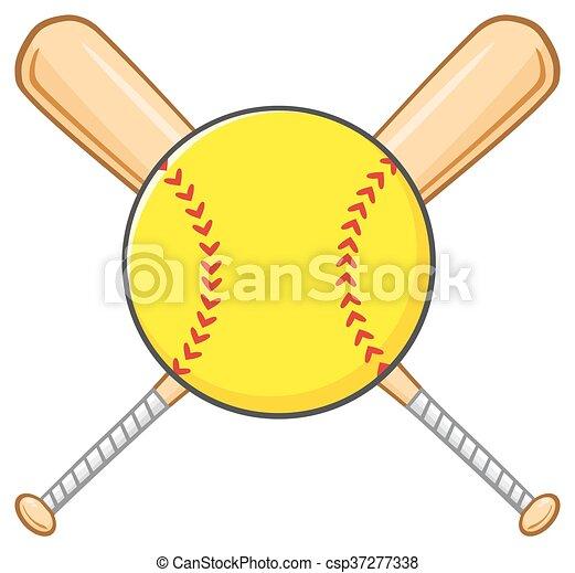 Yellow Softball Over Crossed Bats - csp37277338