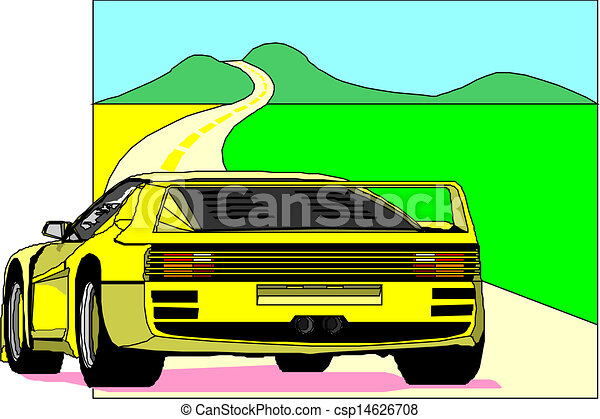 Yellow sports car. - csp14626708