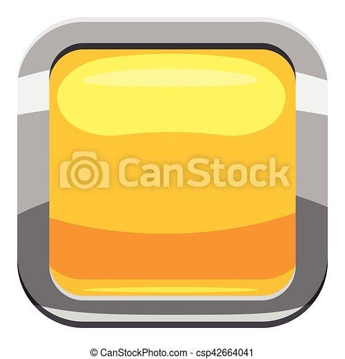 Yellow square button icon, cartoon style - csp42664041