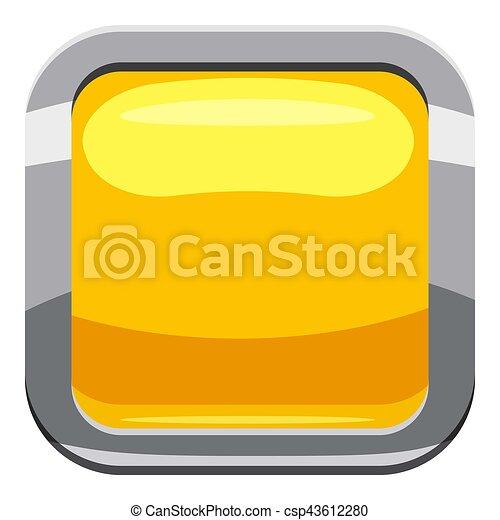 Yellow square button icon, cartoon style - csp43612280