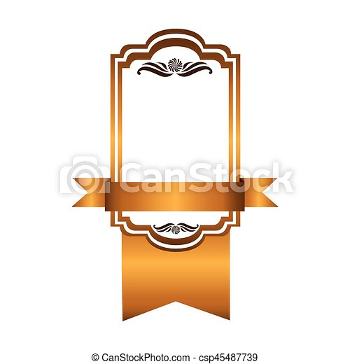 yellow square emblem with ribbon icon - csp45487739