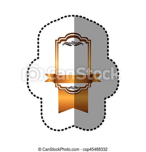 yellow square emblem with ribbon icon - csp45488332