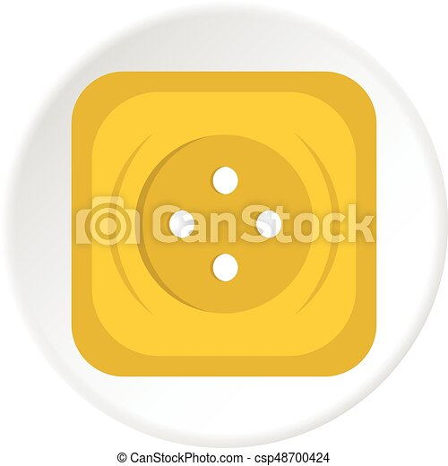 Yellow square sewing button icon circle - csp48700424