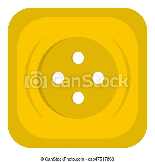 Yellow square sewing button icon isolated - csp47517863