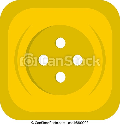 Yellow square sewing button icon isolated - csp46809203