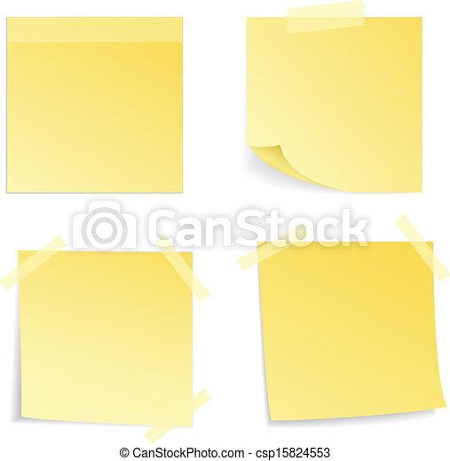 Yellow stick note isolated, vector illustrat - csp15824553