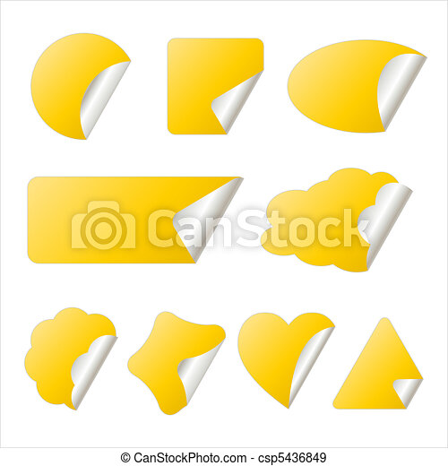 yellow sticker in different shapes yellow stickers in eps