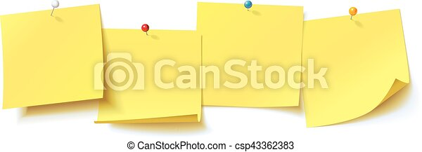 Yellow sticker pinned pushbutton with curled corner, ready for your message - csp43362383