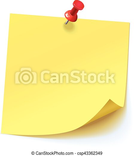 Yellow sticker pinned red pushbutton - csp43362349