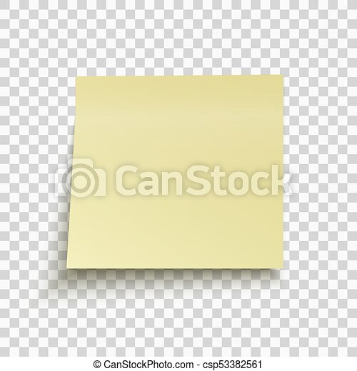 Yellow Sticky Note Isolated On Transparent Background  Clip Art