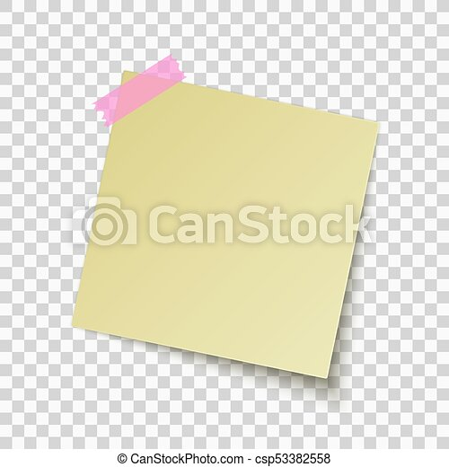 Yellow Sticky Note Isolated On Transparent Background  Clipart