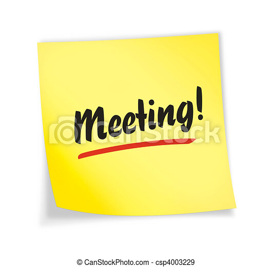 "Yellow sticky note ""meeting\"" - csp4003229"