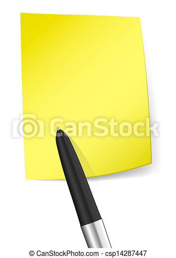 Yellow sticky note with pen - csp14287447