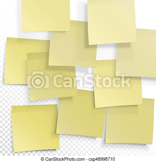 Yellow Sticky Notes Vector Editable Template On Transparent