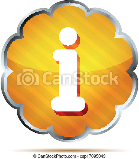 yellow striped info icon button - csp17095043