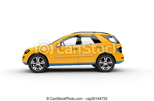 Yellow SUV Side View - csp30144733