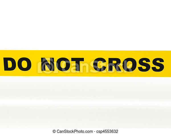 do not cross yellow tape isolated on white background high quality