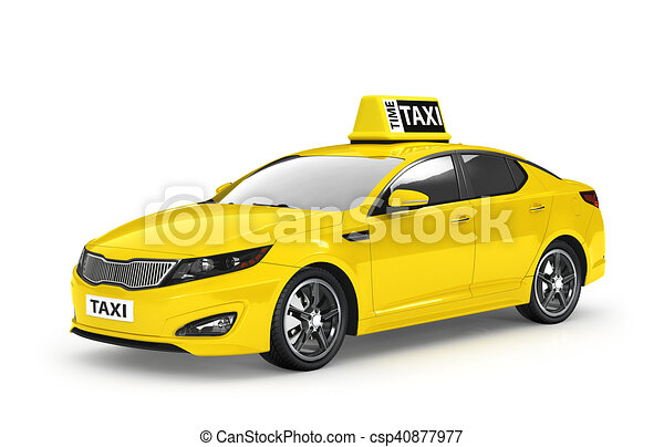 Yellow taxi isolated on white background. 3d illustration - csp40877977