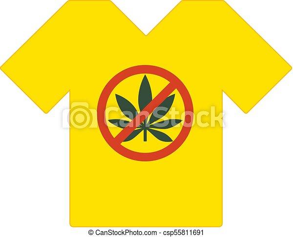 Yellow Tee Shirt No Drugs Allowed Marijuana Leaf With Forbidden Sign