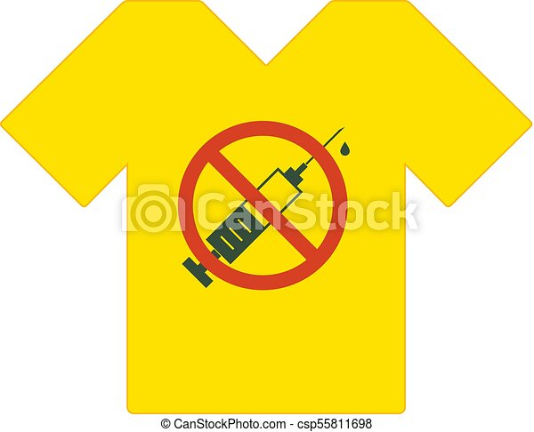 Yellow Tee Shirt No Drugs Allowed Syringe With Forbidden Sign