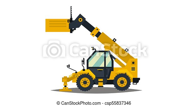 Isolated On White Background Special Equipment Construction Machine Commercial Vehicles