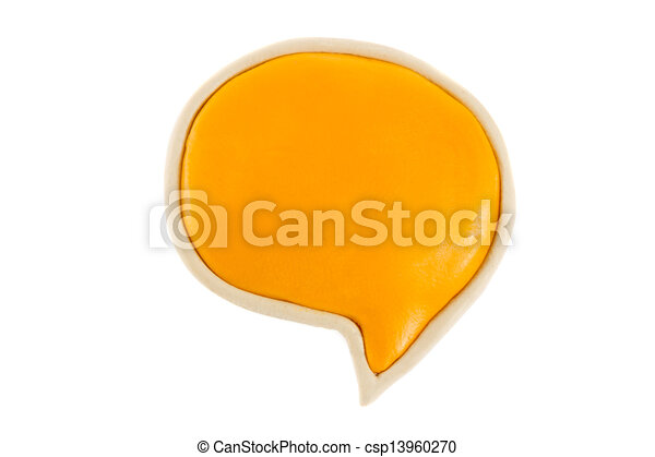 Yellow text bubble of plasticine on a white background - csp13960270