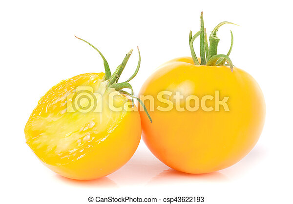 yellow tomato with half isolated on white background - csp43622193