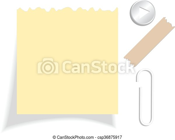 Yellow torn note paper - csp36875917