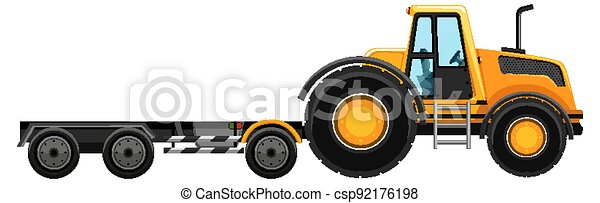 Yellow tow truck isolated on white background - csp92176198