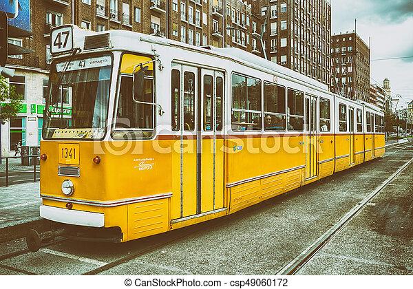 Yellow tram in Budapest, Hungary - csp49060172