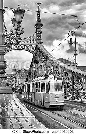 Yellow tram in Budapest, Hungary - csp49060208