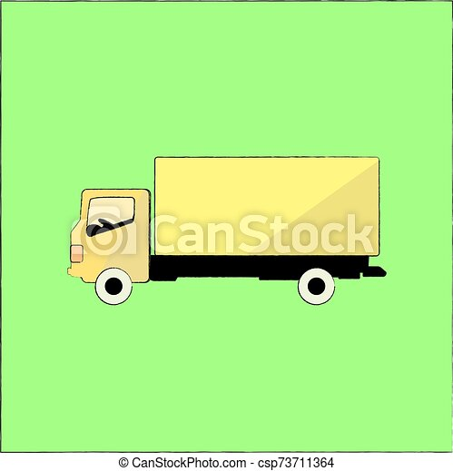 Yellow truck, illustration, vector on white background. - csp73711364