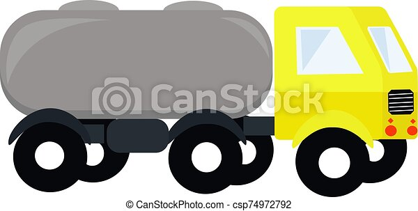 Yellow truck, illustration, vector on white background. - csp74972792
